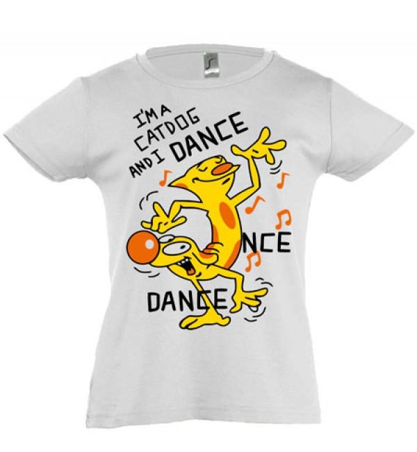 Футболка для девочки  Танцующий Котопес