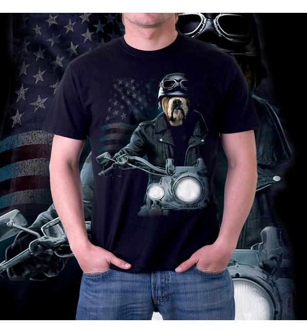 Мужская футболка 3d Бульдог на мотоцикле