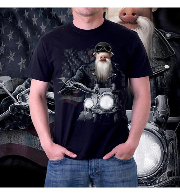 Мужская 3д футболка Свинья на мотоцикле