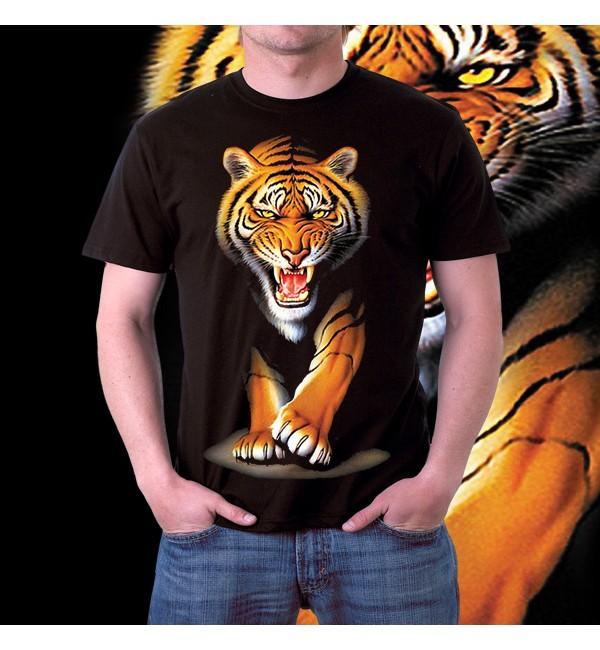 Мужская футболка 3d Тигр идет