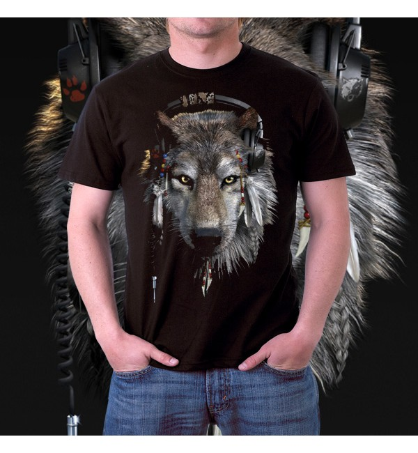 Мужская футболка 3д Волк меломан