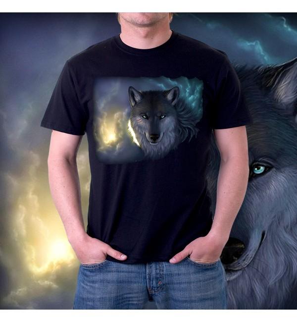 Мужская футболка 3д Волк ночью