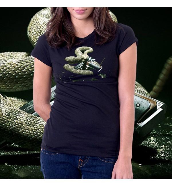 Женская 3d футболка Гремучая змея