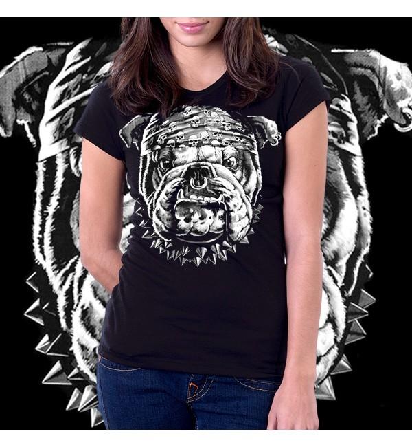 3Д женская футболка Бульдог1