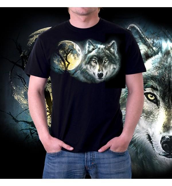 Мужская футболка 3д Волк и луна