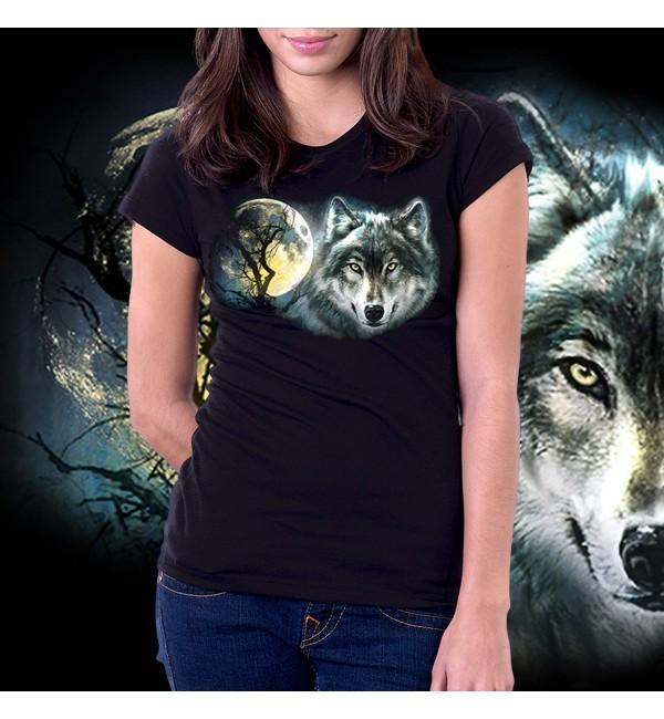 3D женская футболка Волк и луна1