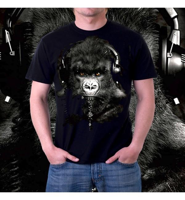 Мужская футболка 3д Горилла меломан