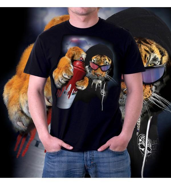 Мужская 3d футболка Тигр с баллончиком
