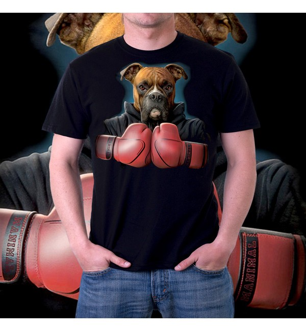 Мужская футболка 3d Собака боксер