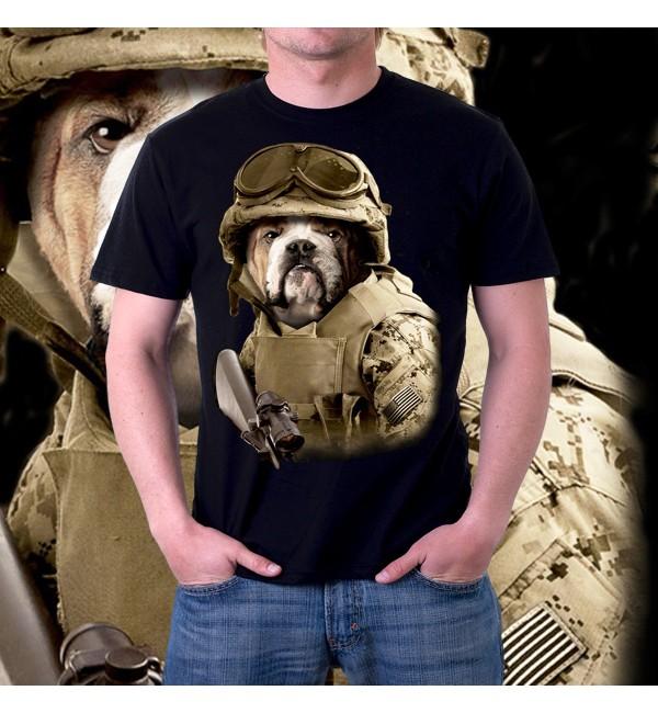 Мужская футболка 3д Собака боксер - спецназ