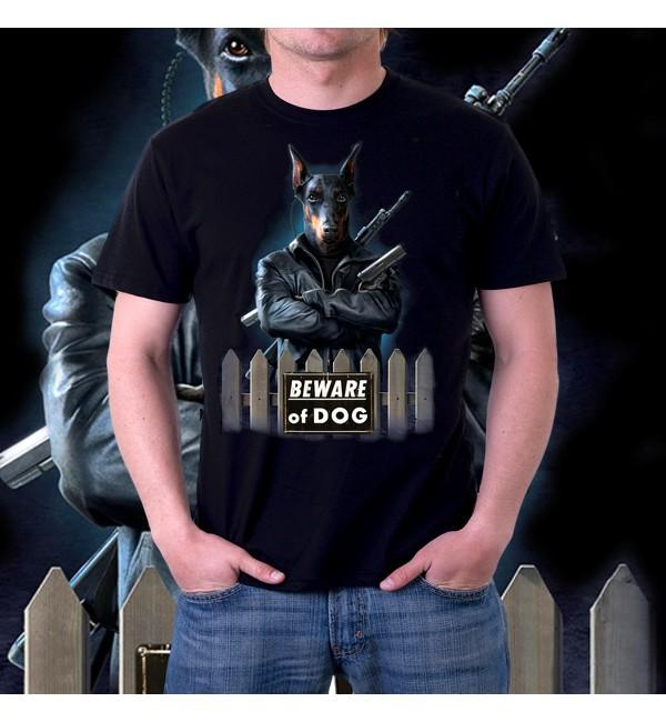 Мужская футболка 3д Beware of Dog
