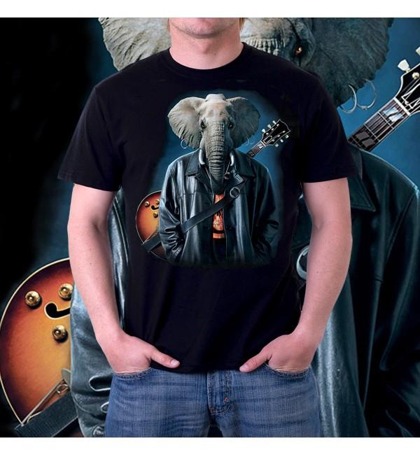 Мужская футболка 3d Слон гитарист