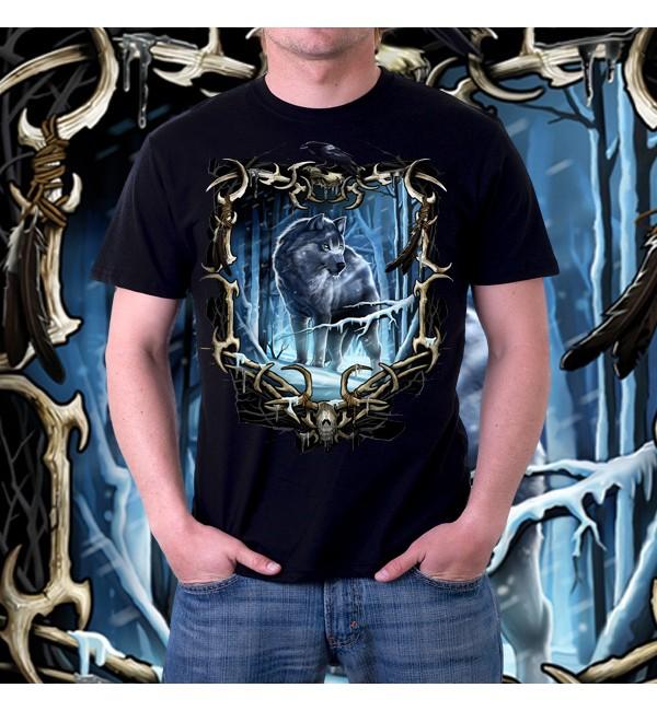 Мужская футболка 3д Волк в лесу