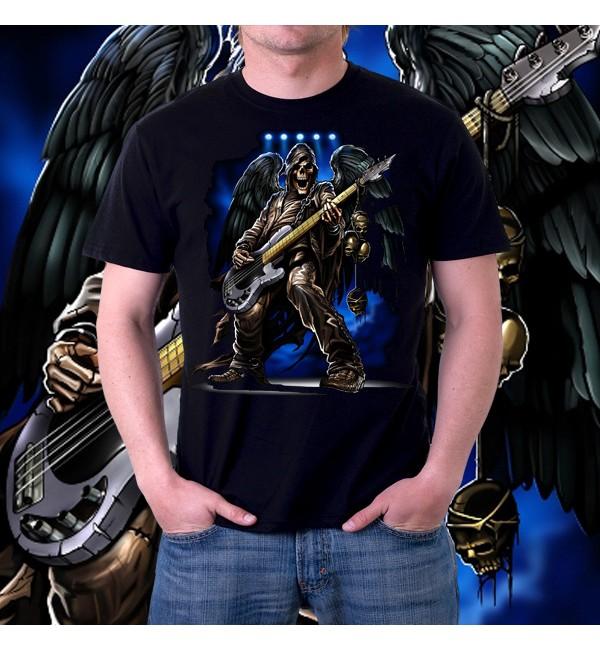 Мужская футболка 3d Скелет бас-гитарист