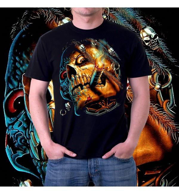 Мужская футболка 3d Скелет с сигаретой