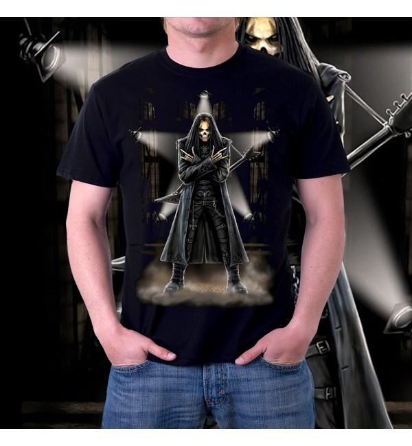 Мужская футболка 3d Скелет музыкант