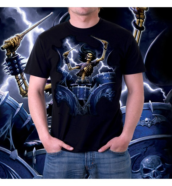 Мужская футболка 3д Death Drummer