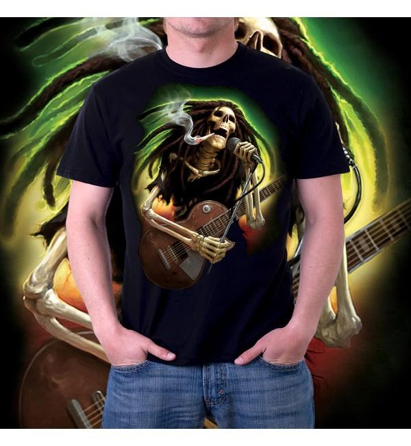 Мужская футболка 3d Скелет растаман