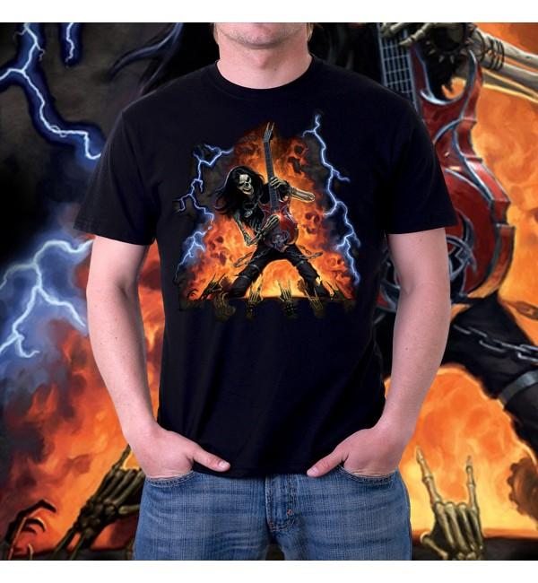 Мужская футболка 3d Скелет рокер