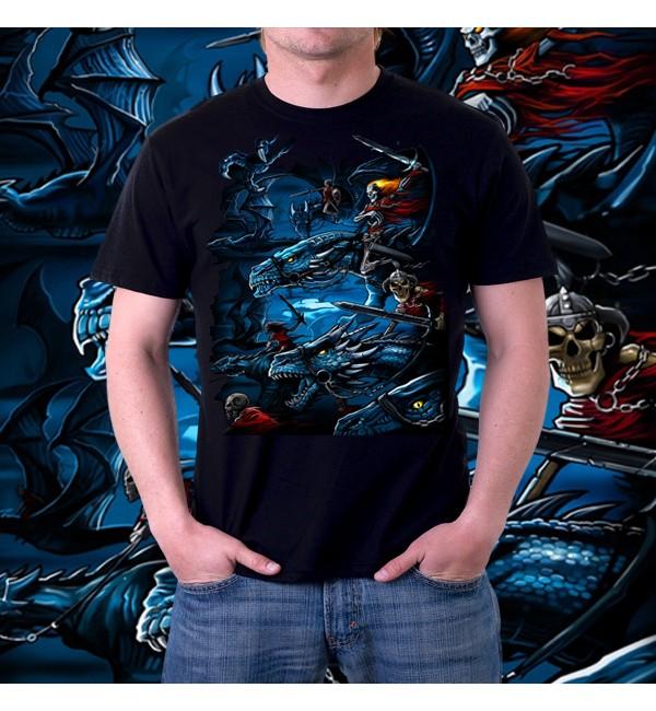 Мужская футболка 3d Скелетоны на драконах