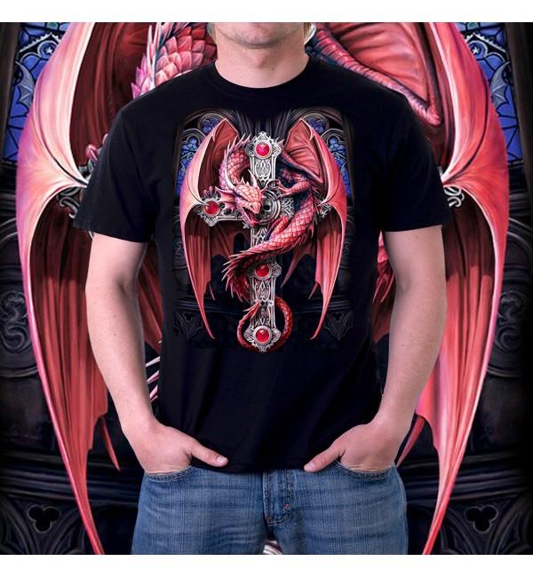 Мужская футболка 3д Красный дракон