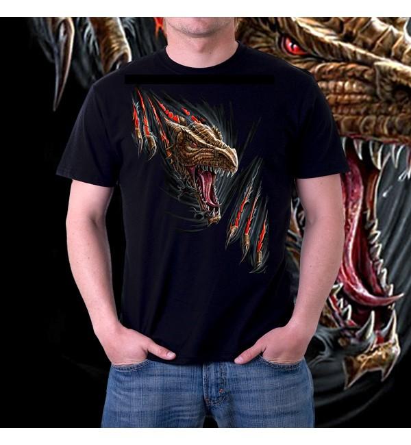 Мужская 3d футболка Злой дракон
