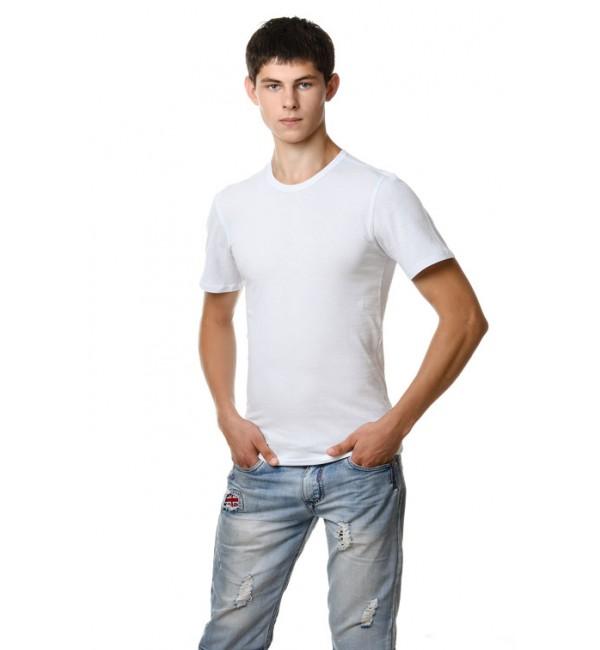 Белая мужская футболка , круглый ворот