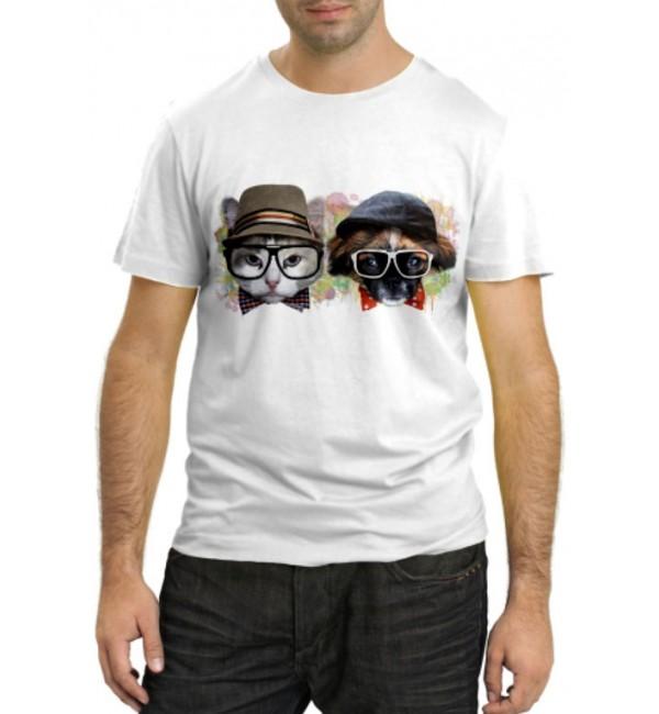 Модная футболка Кот и собака в очках