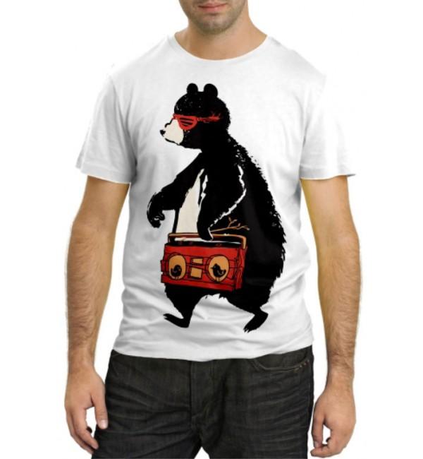 Модная футболка Медведь с магнитофоном