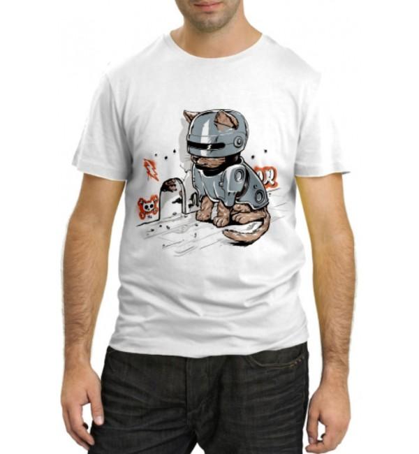 Модная футболка Кот робокоп