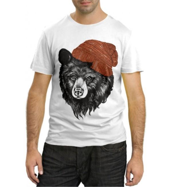 Модная футболка Медведь в шапке