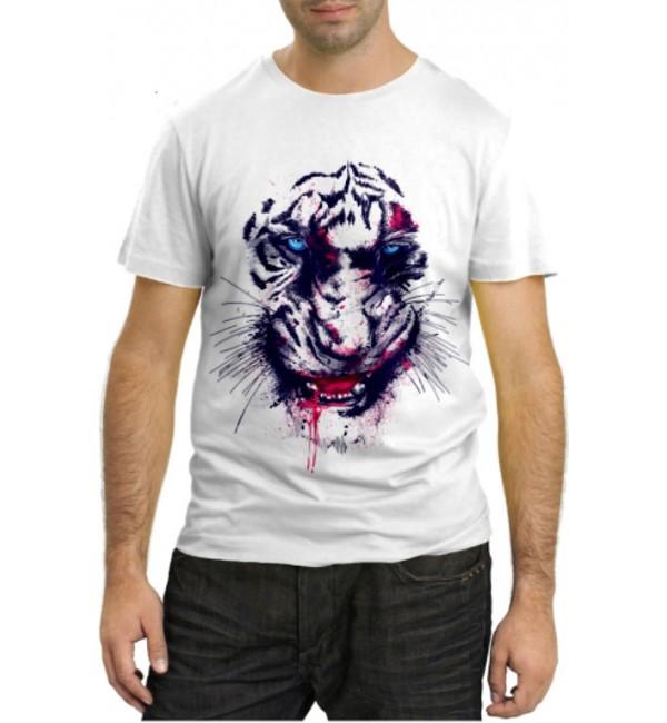Модная футболка Белый тигр охотник