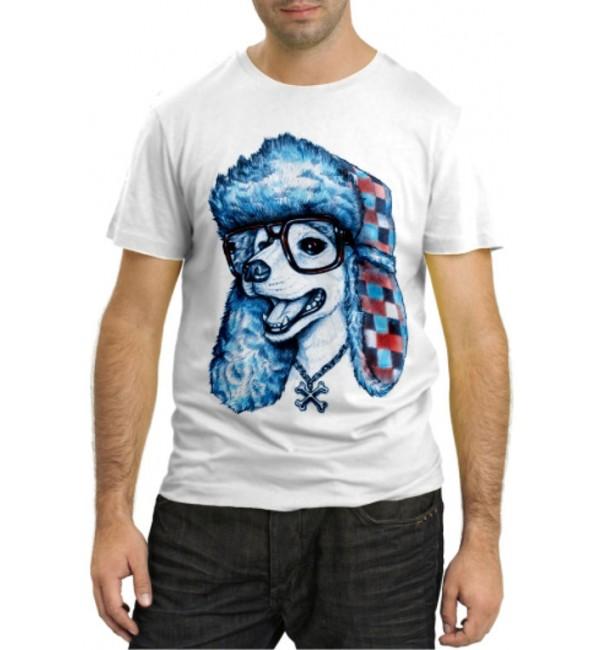 Модная футболка Собачка в шапке