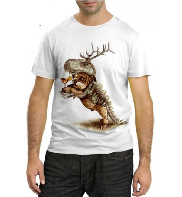 Модная футболка Собака с коктейлем