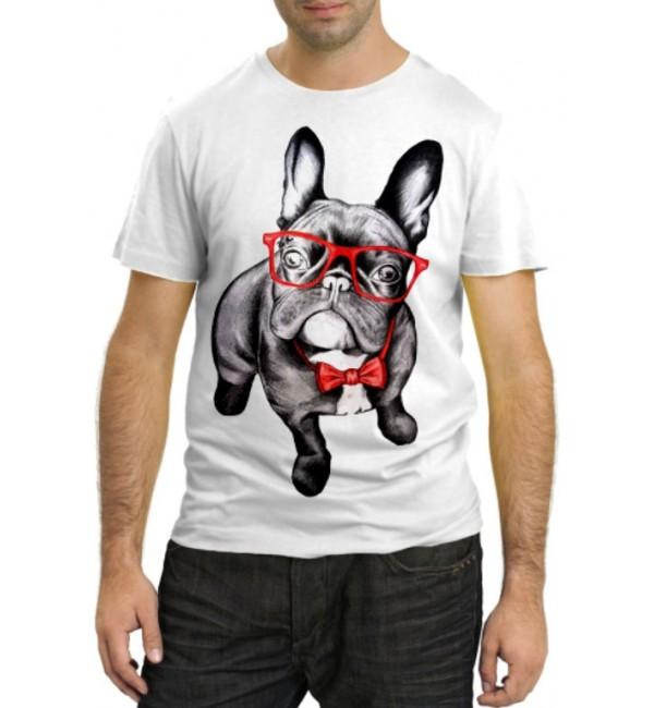 Модная футболка Французкий бульдог в красных очках