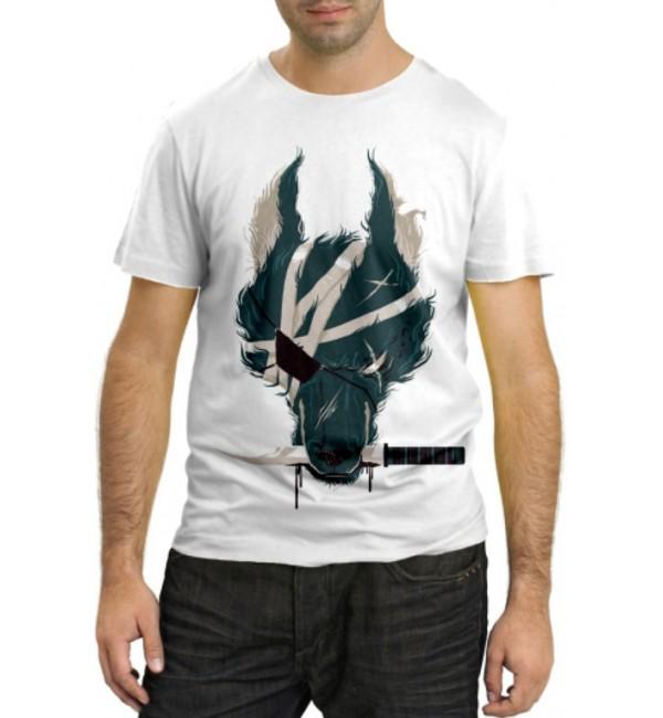 Модная футболка Волк Самурай