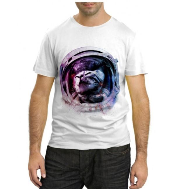 Модная футболка Кот в космосе