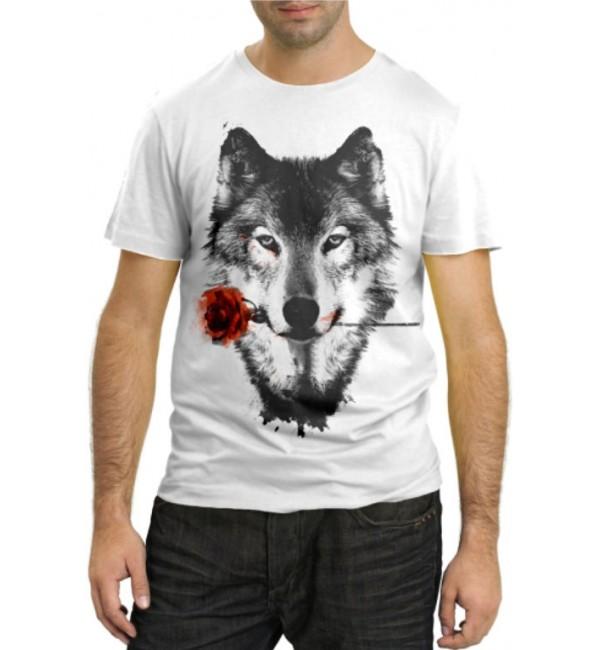 Модная футболка Волк с розой