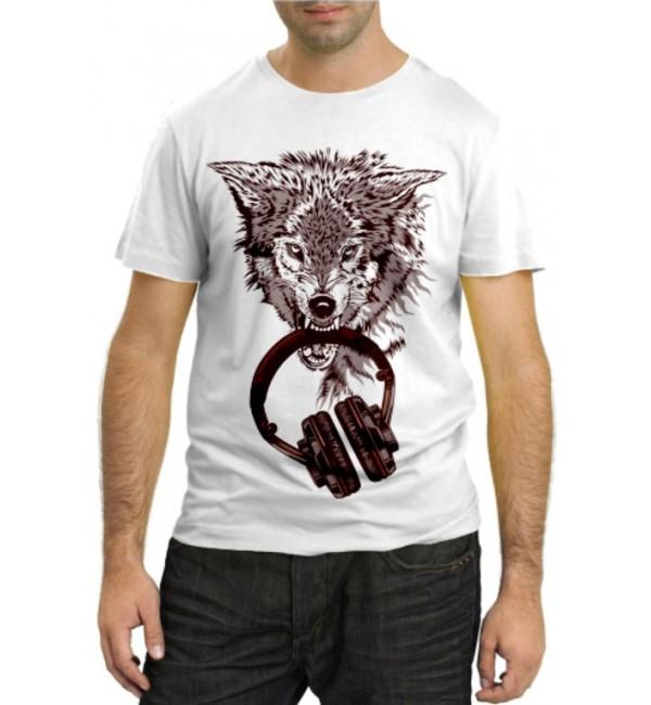 Модная футболка Волк с наушниками