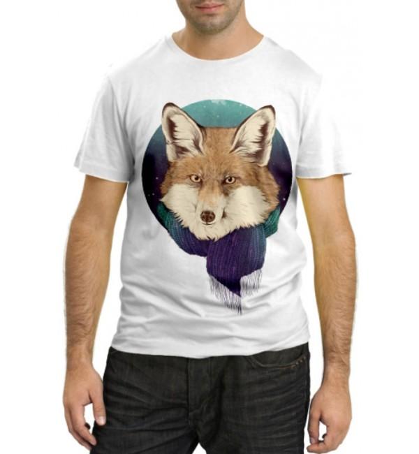 Модная футболка Лиса с шарфом