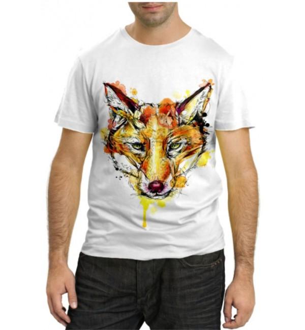 Модная футболка Лиса в красках