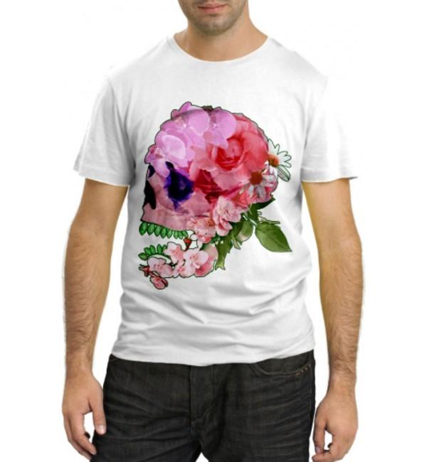 Модная футболка Цветочный череп