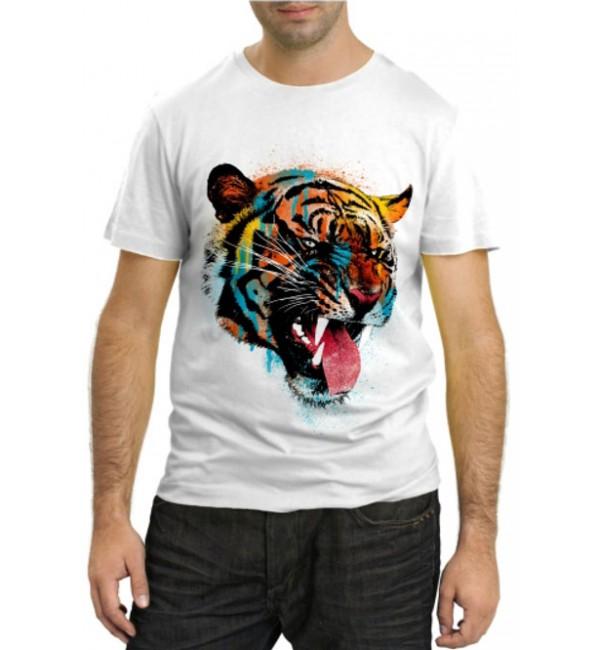 Модная футболка Тигр в красках 1