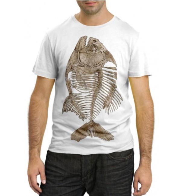 Модная футболка Рыба скелет