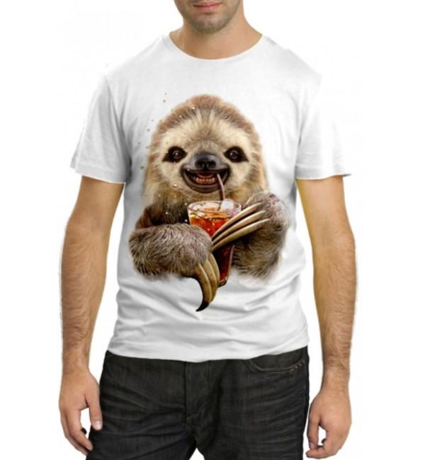Модная футболка Ленивец пьет Пепси