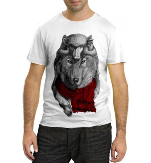 Модная футболка Волк с шарфом