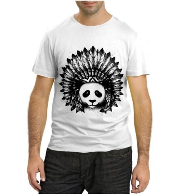 Модная футболка Панда индеец