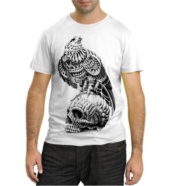 Модная футболка Орел на черепе