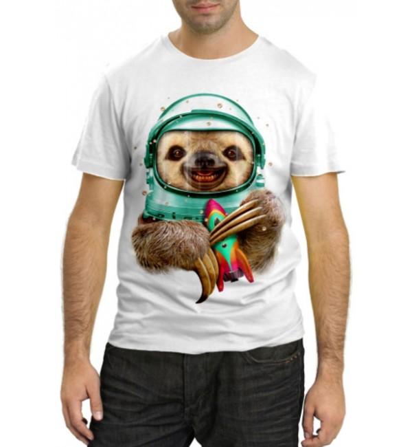 Модная футболка Ленивец в космосе