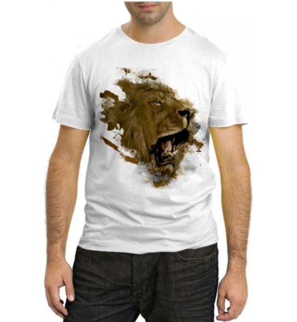 Модная футболка Лев абстракция